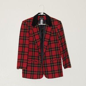 Sag Harbor petite red and black wool plaid blazer